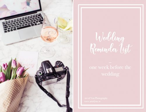 Wedding Reminder List For Art of You Couples. One Week Left