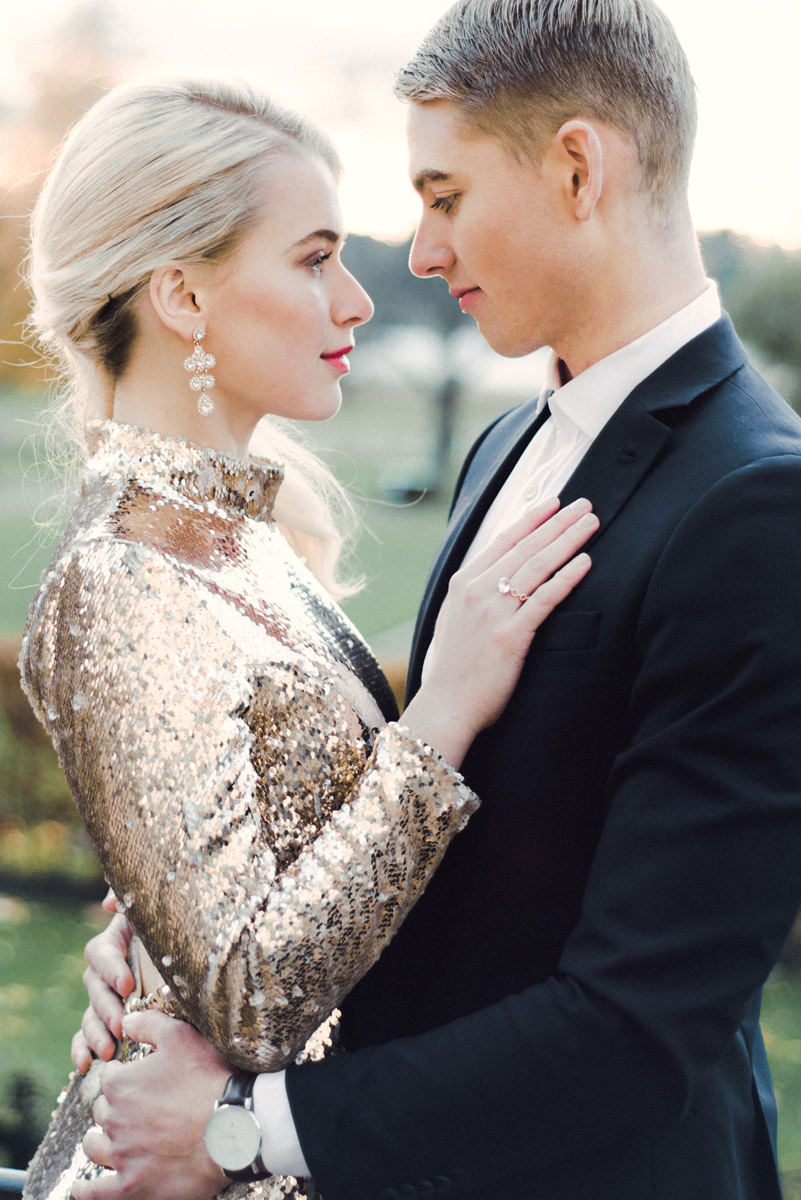 Engagement Session in Golden Sequins