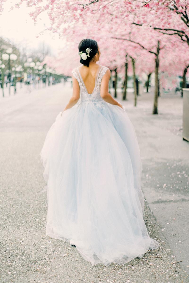 Love Story Engagement, Dusty Blue Wedding Dress